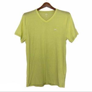 Hollister Mens V Neck T Shirt Neon green medium